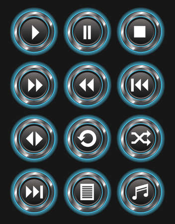 A set of 12 glowing blue media buttons on a dark background. Stock Illustratie