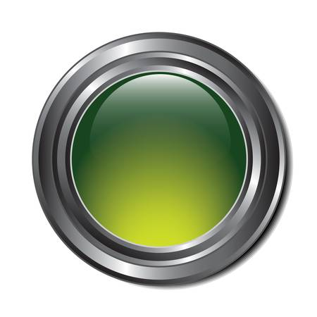 Illustration of a single green metallic button with room for text or an icon. Stock Vector - 18905480