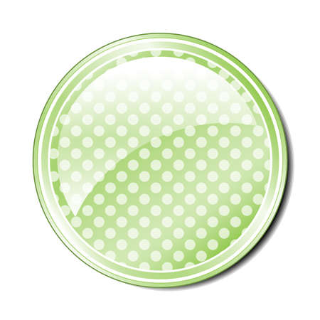 Illustration of a single green spotted button with room for text or an icon. Stock Vector - 18905485