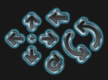 A set of 8 glowing blue metallic arrows.