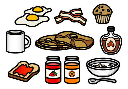 bacon strips: A set of 10 cute and colorful breakfast themed cartoon icons.