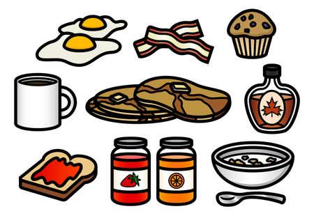 Een set van 10 leuke en kleurrijke ontbijt thema cartoon iconen.