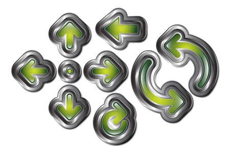 backwards: Een set van 8 gloeiende groene pijlen met metalen randen. Stock Illustratie