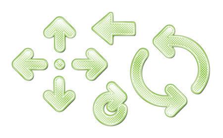 backwards: A set of 8 green spotted arrows. Illustration