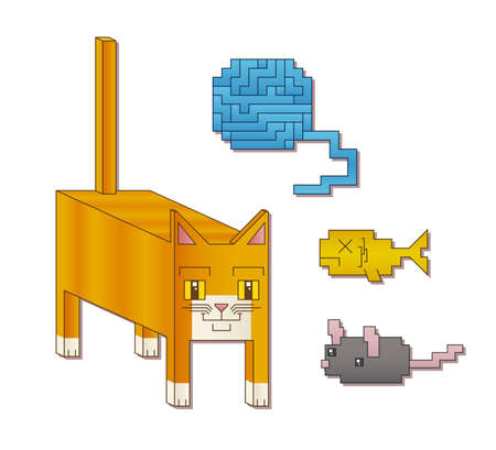 A cute cubic cat character next to a square ball of yarn, fish and mouse. Иллюстрация
