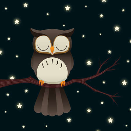 Illustration of a cute cartoon owl sleeping under a starry night sky.