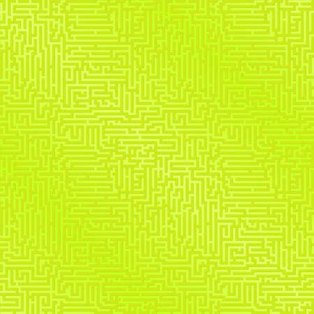 緑と黄色の迷路パターンの背景。シームレスに繰り返し。  イラスト・ベクター素材