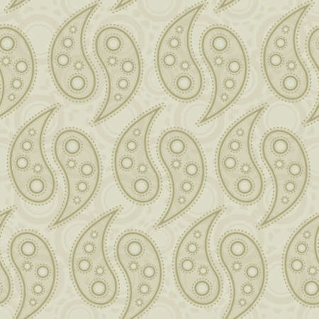 A seamlessly repeatable beige paisley pattern