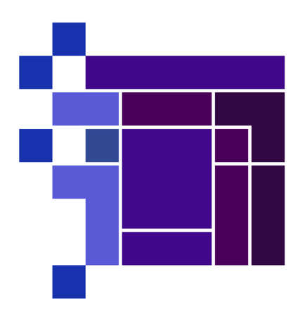 A purple and blue technology icon or graphic