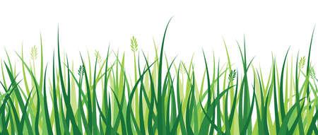 草のパターンを描いた繰り返し水平方向の境界線。  イラスト・ベクター素材