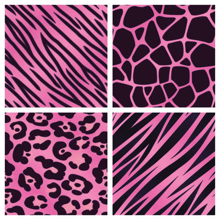 Pink Animal Print Collection Vectores
