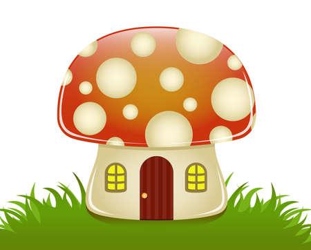 Glanzende illustratie van een kleine paddestoel huis Stock Illustratie