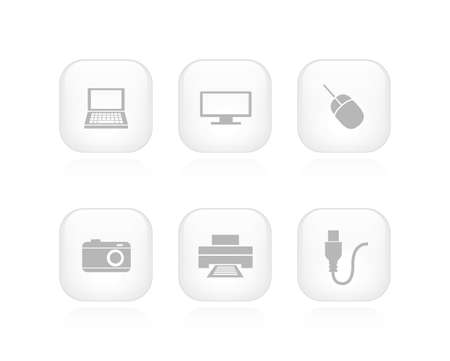 A collection of 6 minimalistic device buttons  Vector