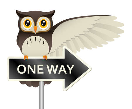 Illustration of an owl gesturing with it s wing while perched atop a  one way  sign