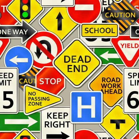 Een achtergrond afbeelding van verschillende soorten verkeersborden