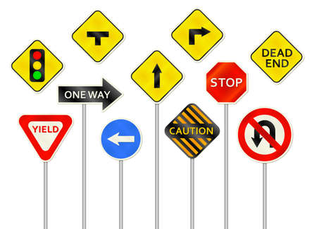 rules of the road: A collection of various realistic roadsign illustrations