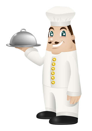 bringing: Illustration of a cartoon chef bringing out a covered meal on a metal serving platter