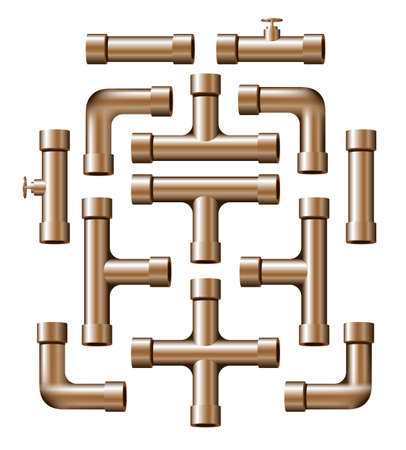 Collection of realistic copper pipe pieces of various shapes and lengths.