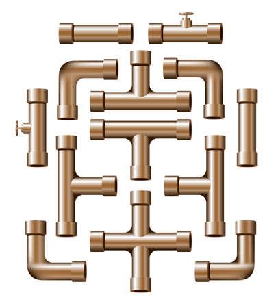 caños de agua: Colección de realistas trozos de tubo de cobre de diversas formas y longitudes.