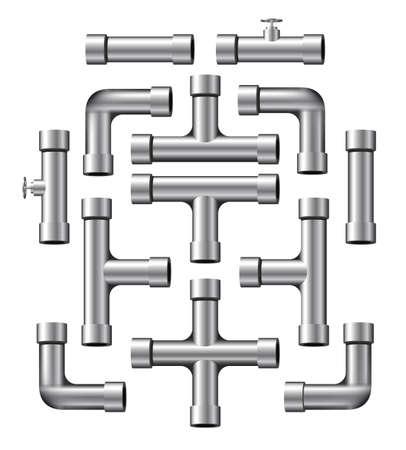 loodgieterswerk: Collectie van realistische zilveren pijp stukken van verschillende vormen en lengtes.