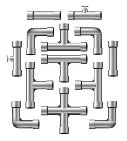 plumbing supply: Collection of realistic silver pipe pieces of various shapes and lengths. Illustration