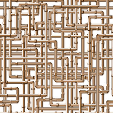 A background of interwoven copper pipes. Seamlessly repeatable.