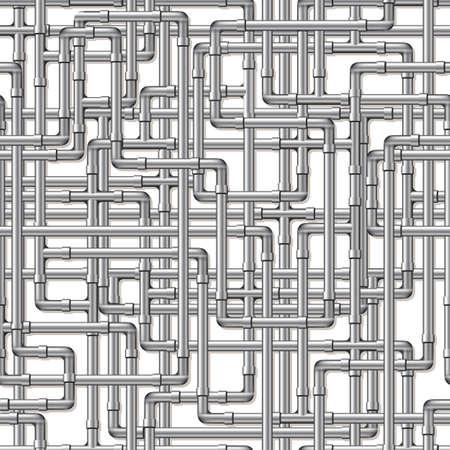 loodgieterswerk: Een achtergrond van verweven zilveren pijpen. Naadloos herhaalbaar.