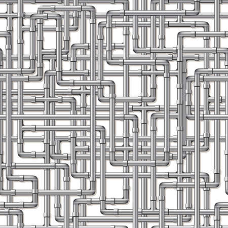 A background of interwoven silver pipes. Seamlessly repeatable.