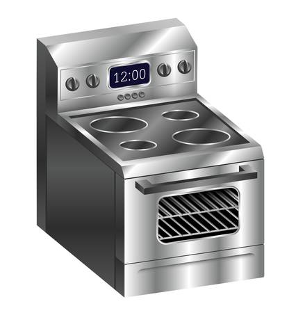 stainless: A realistic illustration of a shiny new stainless steel oven