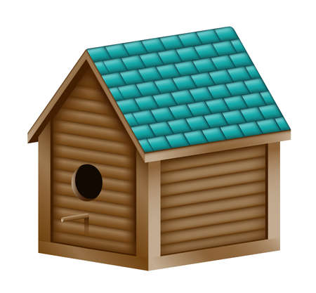 the perch: Illustration of a realistic birdhouse with a turquoise shingled roof.