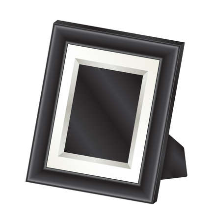 tabletop: Illustration of a single black tabletop photo frame. Illustration
