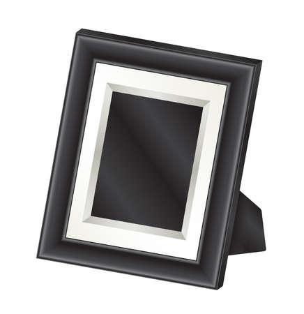 simple frame: Illustration of a single black tabletop photo frame. Illustration