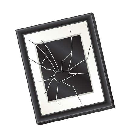 벽에 걸려 비뚤어진 깨진 액자의 그림입니다. 가정 폭력의 개념입니다.
