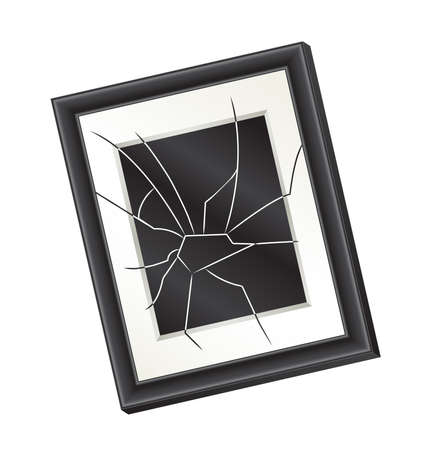 Illustration of a crooked broken picture frame hanging on a wall. Domestic abuse concept.