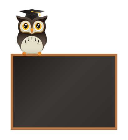 黒板の上に腰掛けてかわいい漫画の先生フクロウのイラスト
