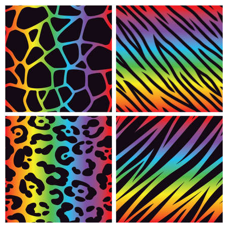 A collection of four bright multicolored animal print backgrounds  Seamlessly Repeatable