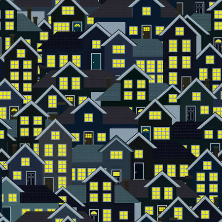 residential neighborhood: A seamlessly repeatable background depicting a crowded residential neighborhood at night  Illustration