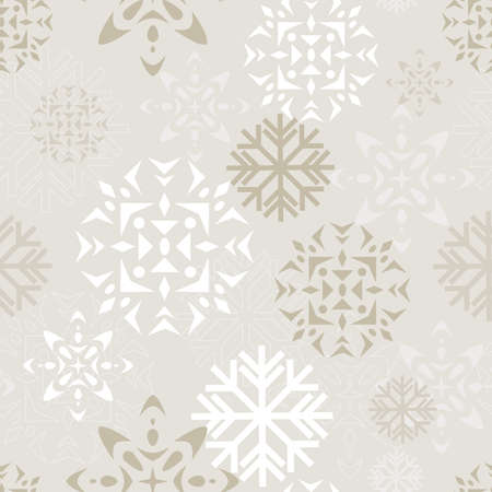 Elegant beige and white background depicting various abstract snowflakes  Seamlessly repeatable  Vector