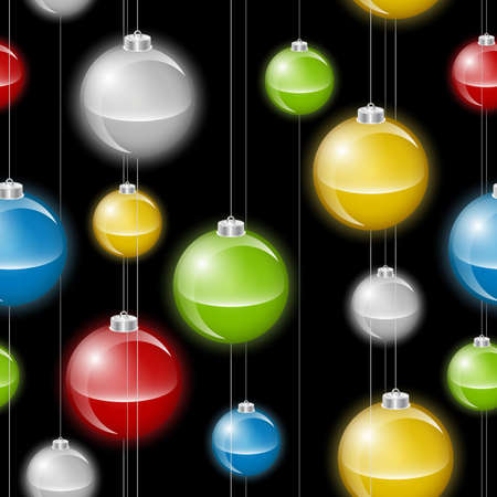 A background depicting multicolored christmas baubles or lights on strings  Seamlessly repeatable  Illustration