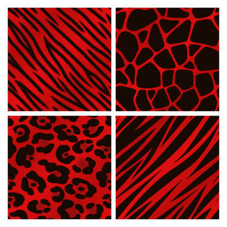 red animal: A collection of four different red animal print backgrounds  Seamlessly repeatable  Illustration