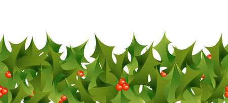 horizontally: A horizontally repeatable border depicting a Christmas holly pattern