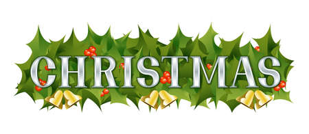 A Christmas themed banner adorned with holly leaves, berries and golden bells  Vector