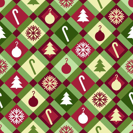 A red, green and yellow Christmas quilt pattern  Seamlessly repeatable