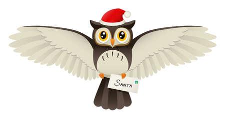 北極点に、手紙を配達サンタ帽子かわいいフクロウを描いたイラスト