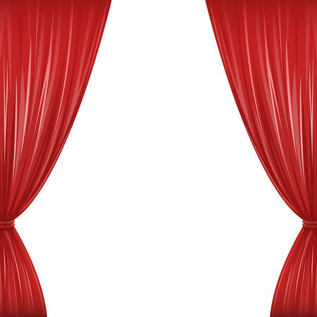 A pair of red drapes on white with copy space