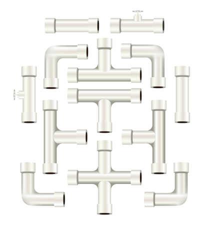 Colección de realistas blanco piezas de tubería de PVC de diferentes formas y longitudes Foto de archivo - 24505206