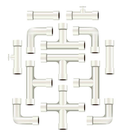 Collection of realistic white pvc pipe pieces of various shapes and lengths  Çizim