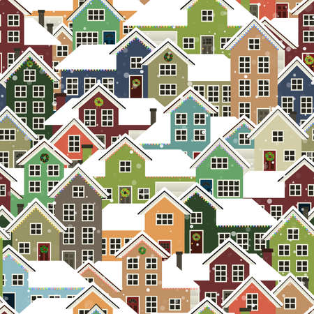 A seamlessly repeatable background depicting a residential neighborhood during Christmas  Vector