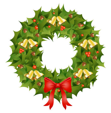 festive: Illustration depicting a festive Christmas wreath
