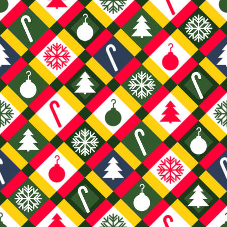 A brightly colored Christmas quilt pattern  Seamlessly Repeatable  Vector